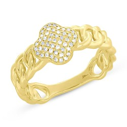Madison E 0.14ct 14k Yellow Gold Diamond Clover Link Ring
