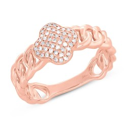 Madison E 0.14ct 14k Rose Gold Diamond Clover Link Ring