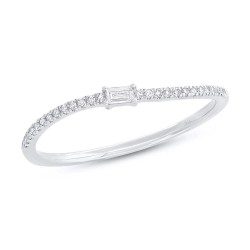 Madison E 0.11ct 14k White Gold Diamond Baguette Lady