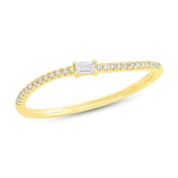 Madison E 0.11ct 14k Yellow Gold Diamond Baguette Lady