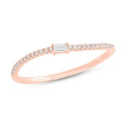 Madison E 0.11ct 14k Rose Gold Diamond Baguette Lady