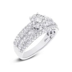 Madison E 1.23ct 18k White Gold Diamond Cluster Engagement Ring