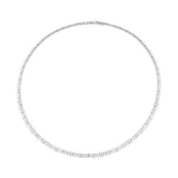 Madison E 9.32ct 14k White Gold Diamond Baguette Choker Necklace