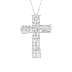Madison E 1.28ct 14k White Gold Diamond Baguette Cross Necklace