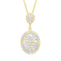 Madison E 1.76ct 14k Yellow Gold Diamond Baguette Necklace