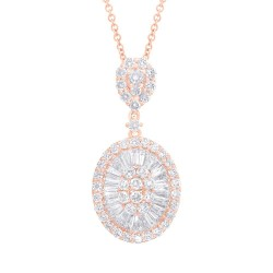 Madison E 1.76ct 14k Rose Gold Diamond Baguette Necklace
