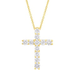 Madison E 0.32ct 14k Yellow Gold Diamond Cross Necklace