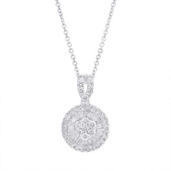Madison E 0.65ct 14k White Gold Diamond Baguette Necklace