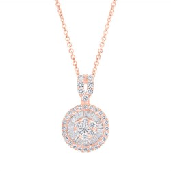 Madison E 0.65ct 14k Rose Gold Diamond Baguette Necklace