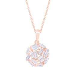 Madison E 0.45ct 14k Rose Gold Diamond Baguette Necklace