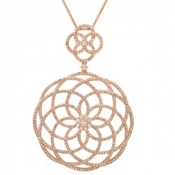 Madison E 1.92ct 14k Rose Gold Diamond Lace Pendant