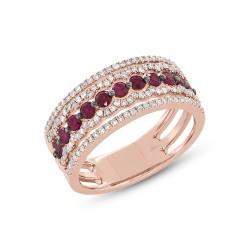 Madison E 0.35ct Diamond & 0.63ct Ruby 14k Rose Gold Lady