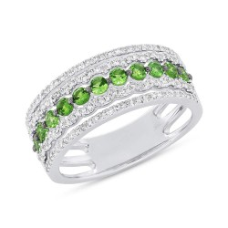 Madison E 0.35ct Diamond & 0.56ct Green Garnet 14k White Gold Lady