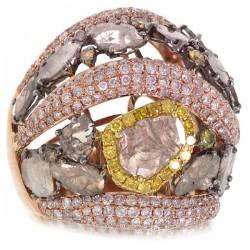 Madison E 5.19ct 18k Rose Gold White & Fancy Color Diamond Ring