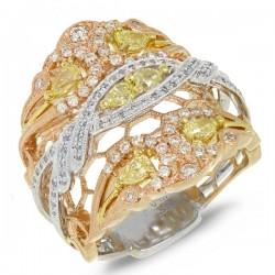 Madison E 1.00ct 18k Three-tone Gold White & Fancy Color Diamond Ring