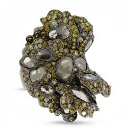 Madison E 6.86ct 18k Black Rhodium Gold Fancy Color Diamond Ring