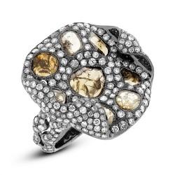 Madison E 4.37ct 18k Black Rhodium Gold Fancy Diamond Ring