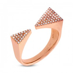 Madison E 0.22ct 14k Rose Gold Diamond Pave Triangle Ring Size 6.5