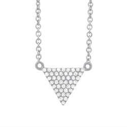 Madison E 0.13ct 14k White Gold Diamond Pave Triangle Necklace
