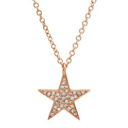 Madison E 0.09ct 14k Rose Gold Diamond Star Pendant