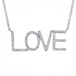 "Madison E 0.21ct 14k White Gold Diamond ""Love"" Necklace"