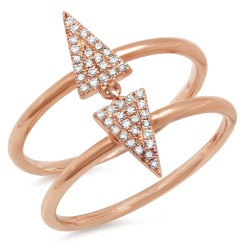 Madison E 0.14ct 14k Rose Gold Diamond Pave Triangle Ring