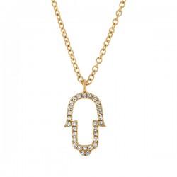 Madison E 0.08ct 14k Yellow Gold Diamond Hamsa Pendant