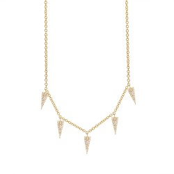 Madison E 0.23ct 14k Yellow Gold Diamond Pave Triangle Necklace