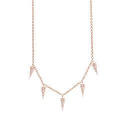 Madison E 0.23ct 14k Rose Gold Diamond Pave Triangle Necklace