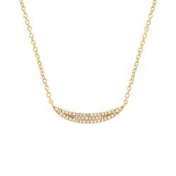 Madison E 0.11ct 14k Yellow Gold Diamond Pave Crescent Pendant