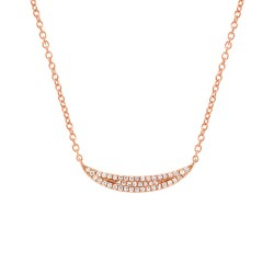 Madison E 0.11ct 14k Rose Gold Diamond Pave Crescent Pendant
