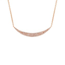 Madison E 0.25ct 14k Rose Gold Diamond Pave Crescent Necklace