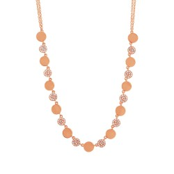 Madison E 0.30ct 14k Rose Gold Diamond Pave Circle Necklace