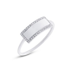 Madison E 0.11ct 14k White Gold Diamond Bar ID Ring