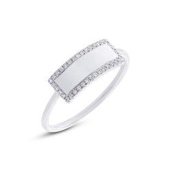 Madison E 0.11ct 14k White Gold Diamond Bar ID Ring Size 4