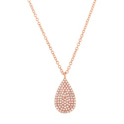 Madison E 0.19ct 14k Rose Gold Diamond Pave Necklace