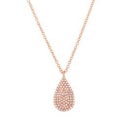 Madison E 0.19ct 14k Rose Gold Diamond Pave Necklace