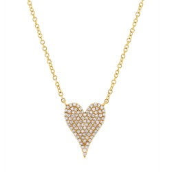 Madison E 0.21ct 14k Yellow Gold Diamond Pave Heart Pendant