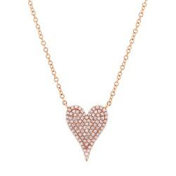 Madison E 0.21ct 14k Rose Gold Diamond Pave Heart Pendant