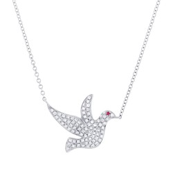 Madison E 0.27ct Diamond & 0.01ct Ruby 14k White Gold Dove Necklace
