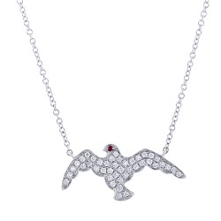 Madison E 0.20ct Diamond & 0.01ct Ruby 14k White Gold Eagle Necklace