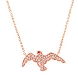 Madison E 0.20ct Diamond & 0.01ct Ruby 14k Rose Gold Eagle Necklace