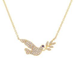 Madison E 0.25ct Diamond & 0.01ct Blue Sapphire 14k Yellow Gold Dove Necklace