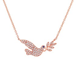 Madison E 0.25ct Diamond & 0.01ct Blue Sapphire 14k Rose Gold Dove Necklace