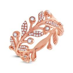 Madison E 0.24ct 14k Rose Gold Diamond Leaf Ring