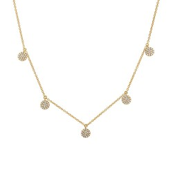 Madison E 0.22ct 14k Yellow Gold Diamond Pave Circle Necklace