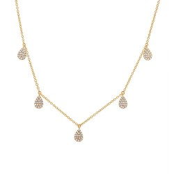 Madison E 0.27ct 14k Yellow Gold Diamond Pave Necklace