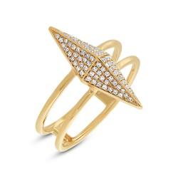 Madison E 0.22ct 14k Yellow Gold Diamond Pave Pyramid Ring
