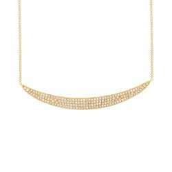 Madison E 0.42ct 14k Yellow Gold Diamond Pave Crescent Necklace