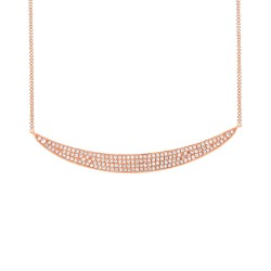 Madison E 0.42ct 14k Rose Gold Diamond Pave Crescent Necklace